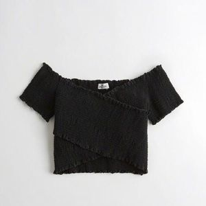 Smocked black wrap crop top